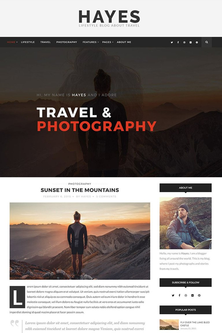 Hayes - Travel Blog WordPress Theme #65620