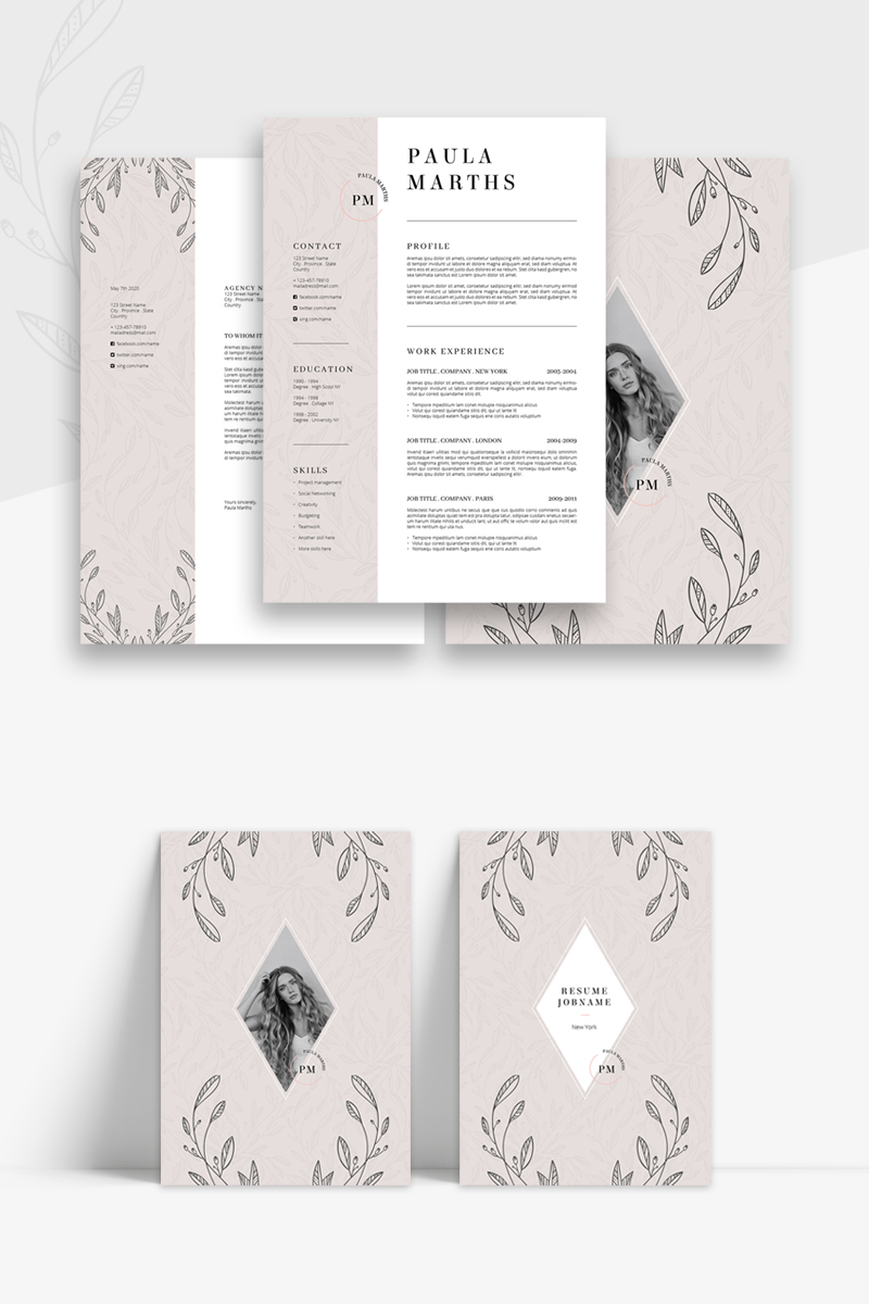 FLORAL CV Cover Letter Resume Template
