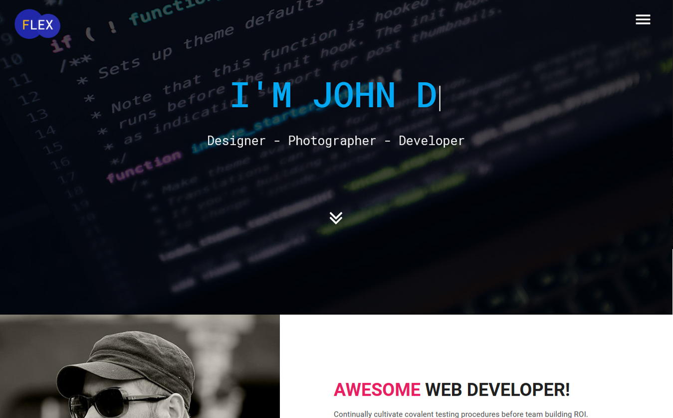 Flex  Portfolio  Resume Website Template