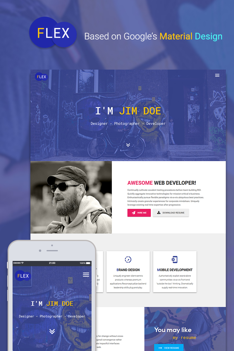Flex   Portfolio U0026 Resume Website Template  Resume Website Template