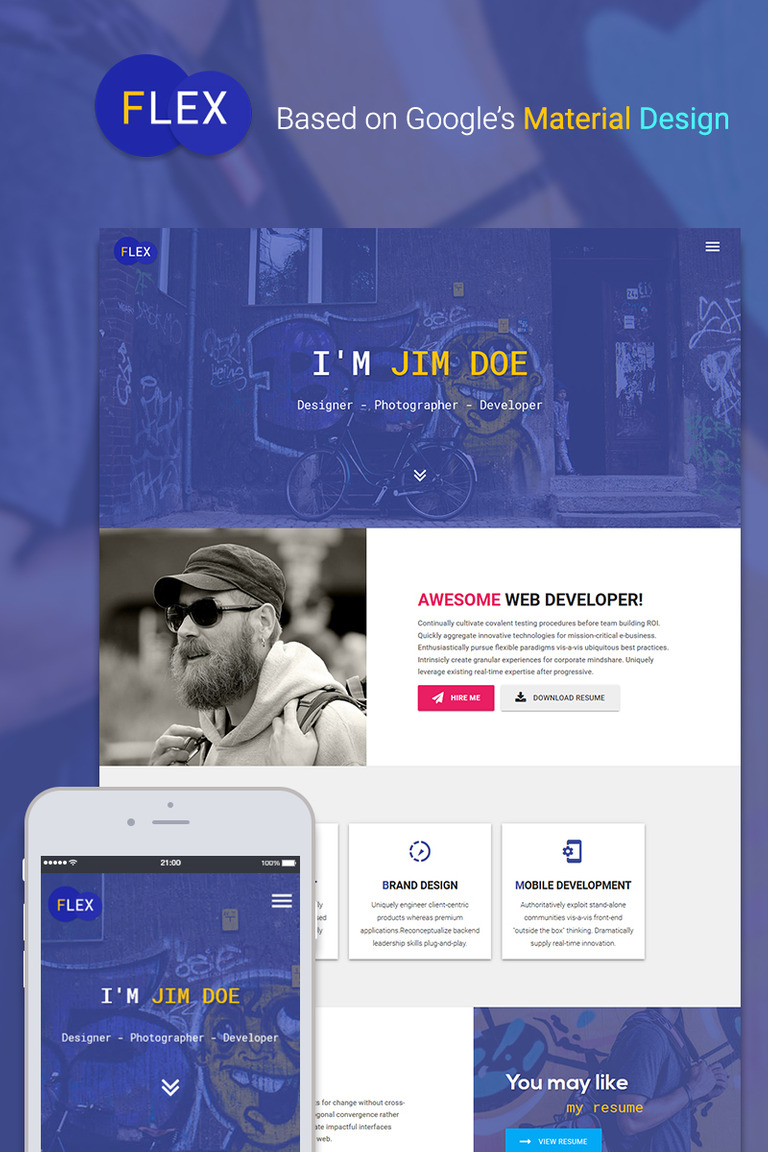 Resume Website Impressive Flex Portfolio Resume Website Template 48