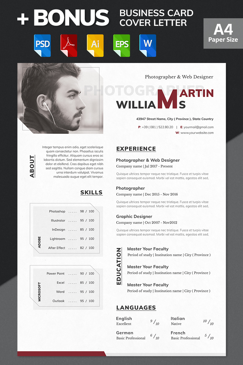 martin williams photographer web designer resume template big screenshot