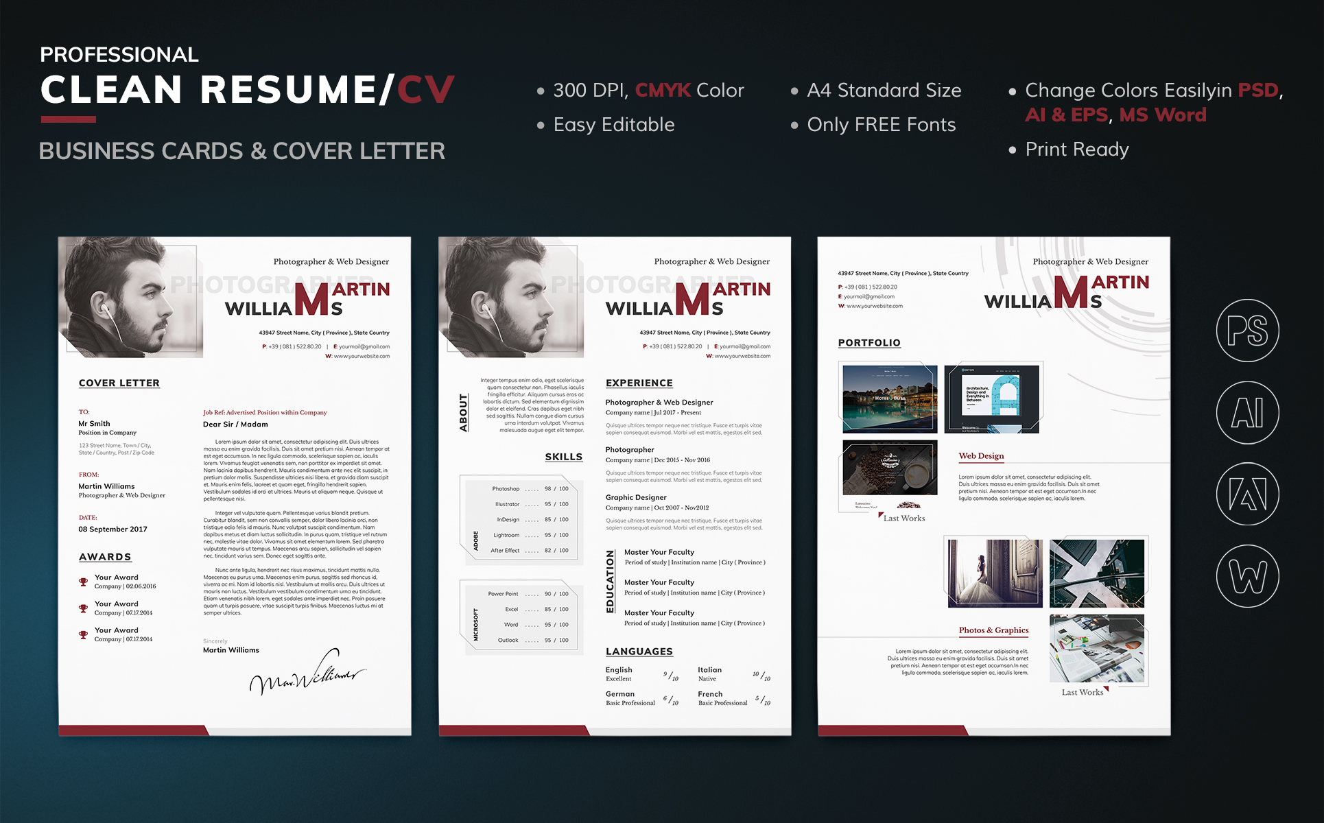 Martin Williams   Photographer U0026 Web Designer Resume Template Big Screenshot