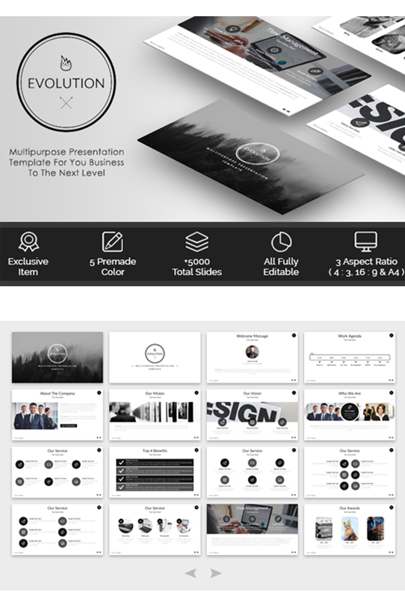 evolution - multipurpose powerpoint template #65628, Presentation templates