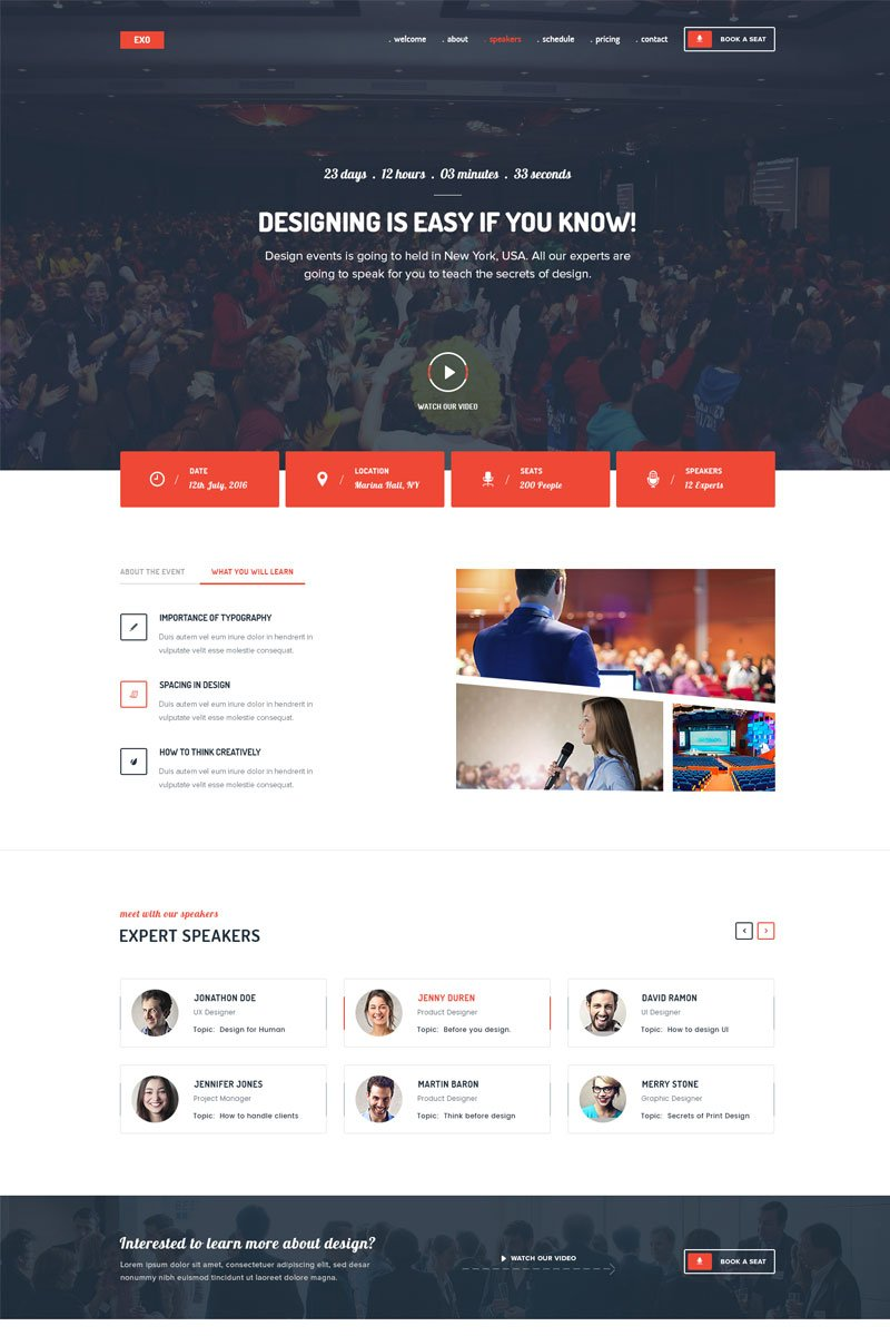EXO | Event Landing Page Template #68298