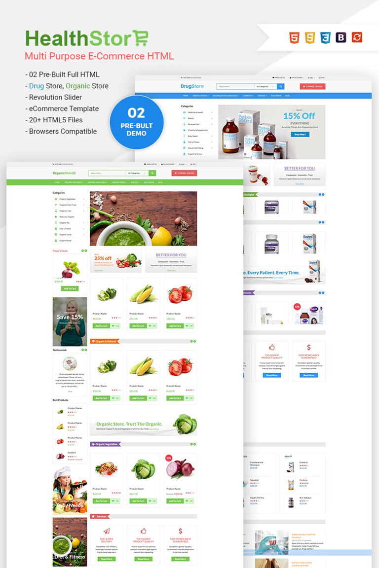 Health Shop Multi Purpose Ecommerce Website Template 65772