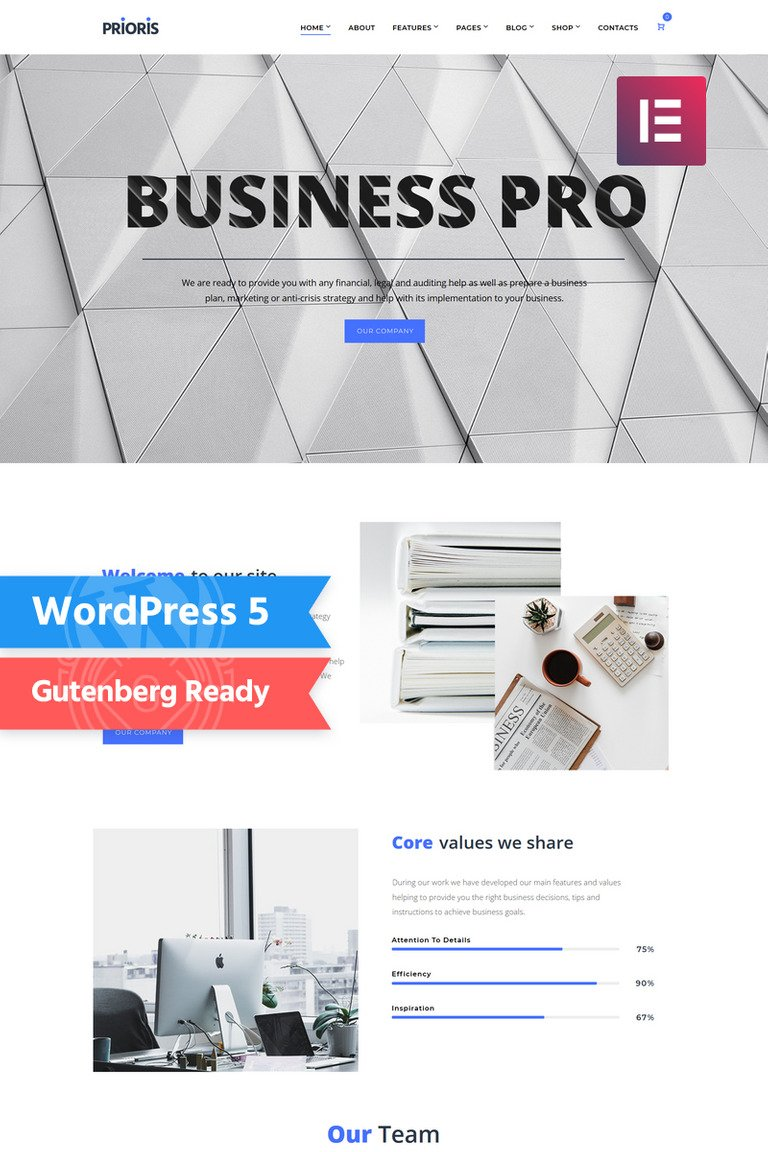 Prioris - Consulting Agency Elementor WordPress Theme