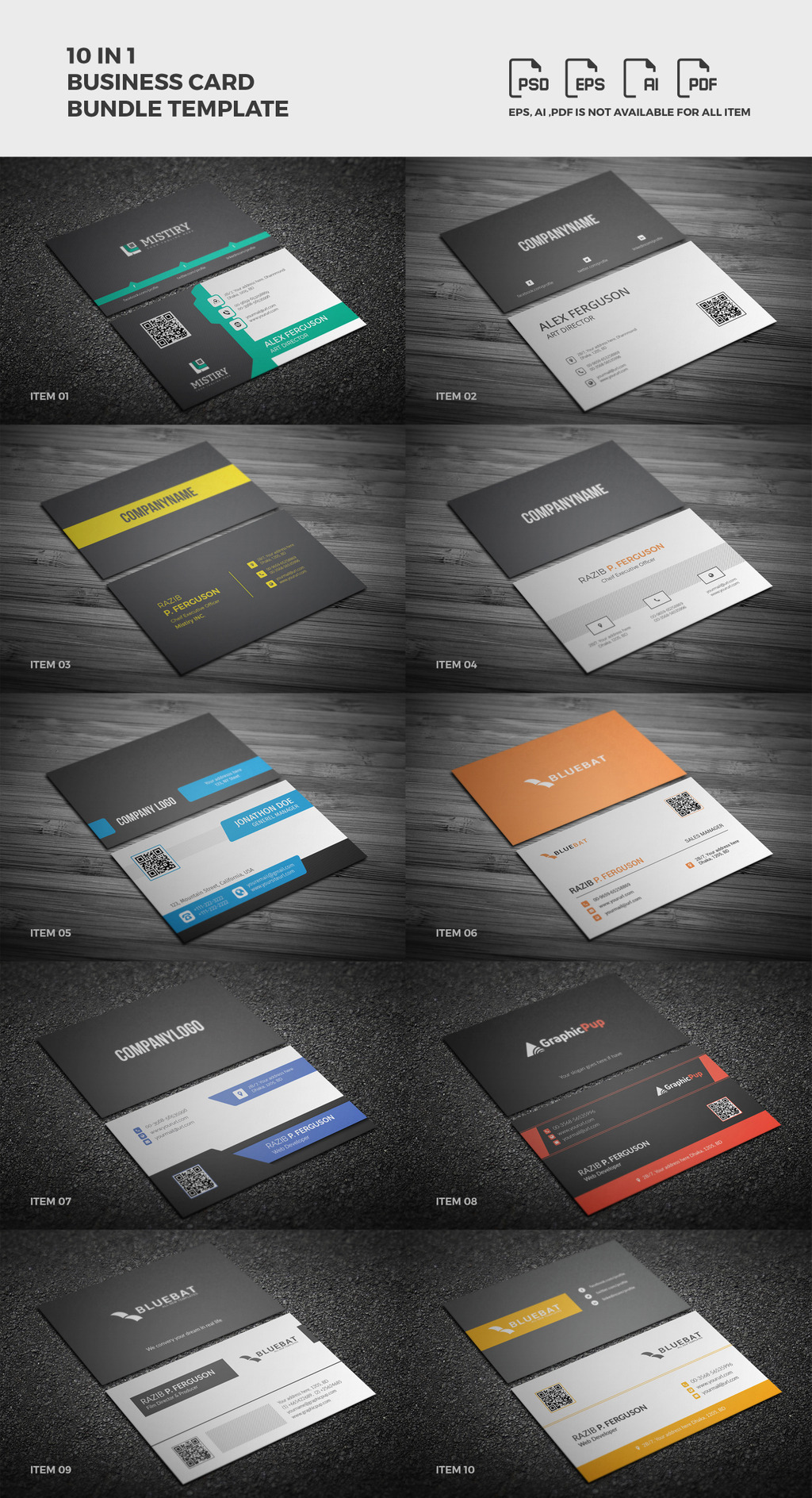 Business card bundle print corporate identity template 65691 a beautiful multipurpose corporate clean creative business card template bundle which contain 10 of the premium design this clean modern and fully reheart Images