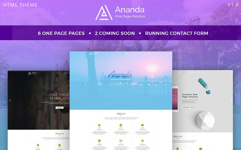 Ananda - One Page Parallax Website Template #65857
