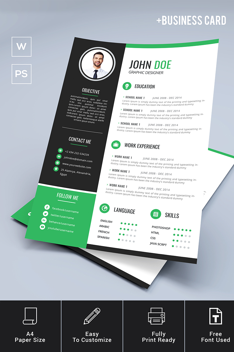 standard paper size for resume