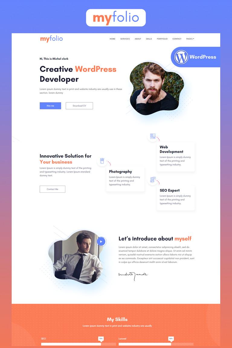 MyFolio - Portfolio Landing Elementor WordPress Theme