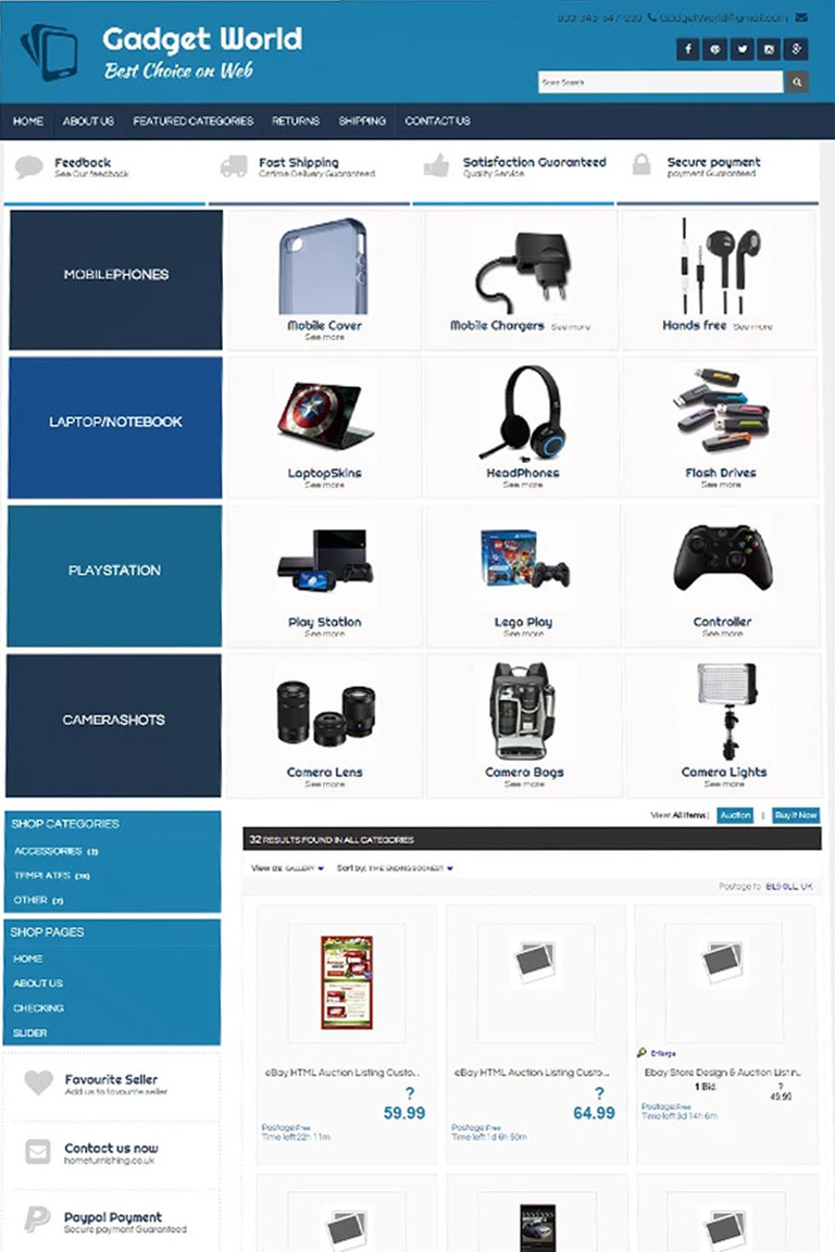 XD Gadgets World EBay Template - Mobile friendly ebay template