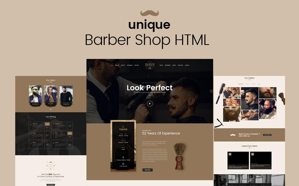 Unique Barber Salon Website Template Screenshot Zoom In Live Demo