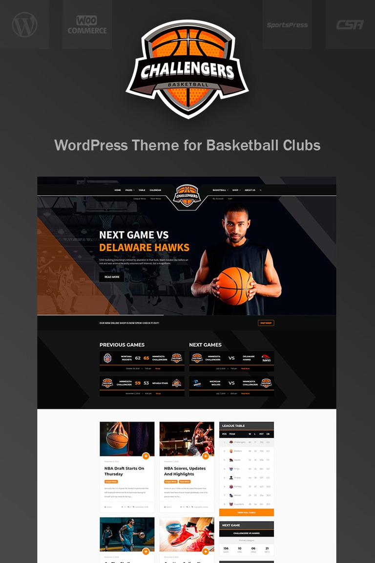 Challengers - Basketball Club Sports WordPress Theme
