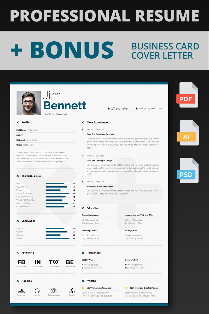 jim bennett front end developer resume template big screenshot - Developer Resume Template