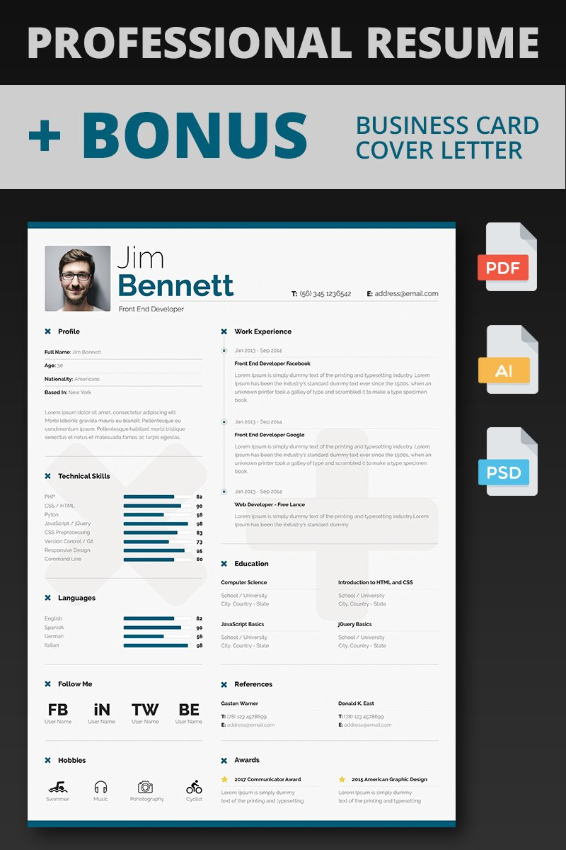 Jim Bennett Front End Developer Resume Template