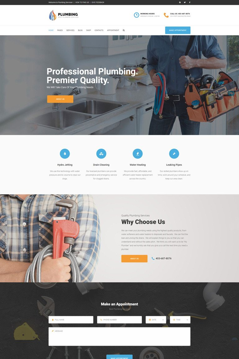 Plumbing - Home Maintenance Agency WordPress Theme