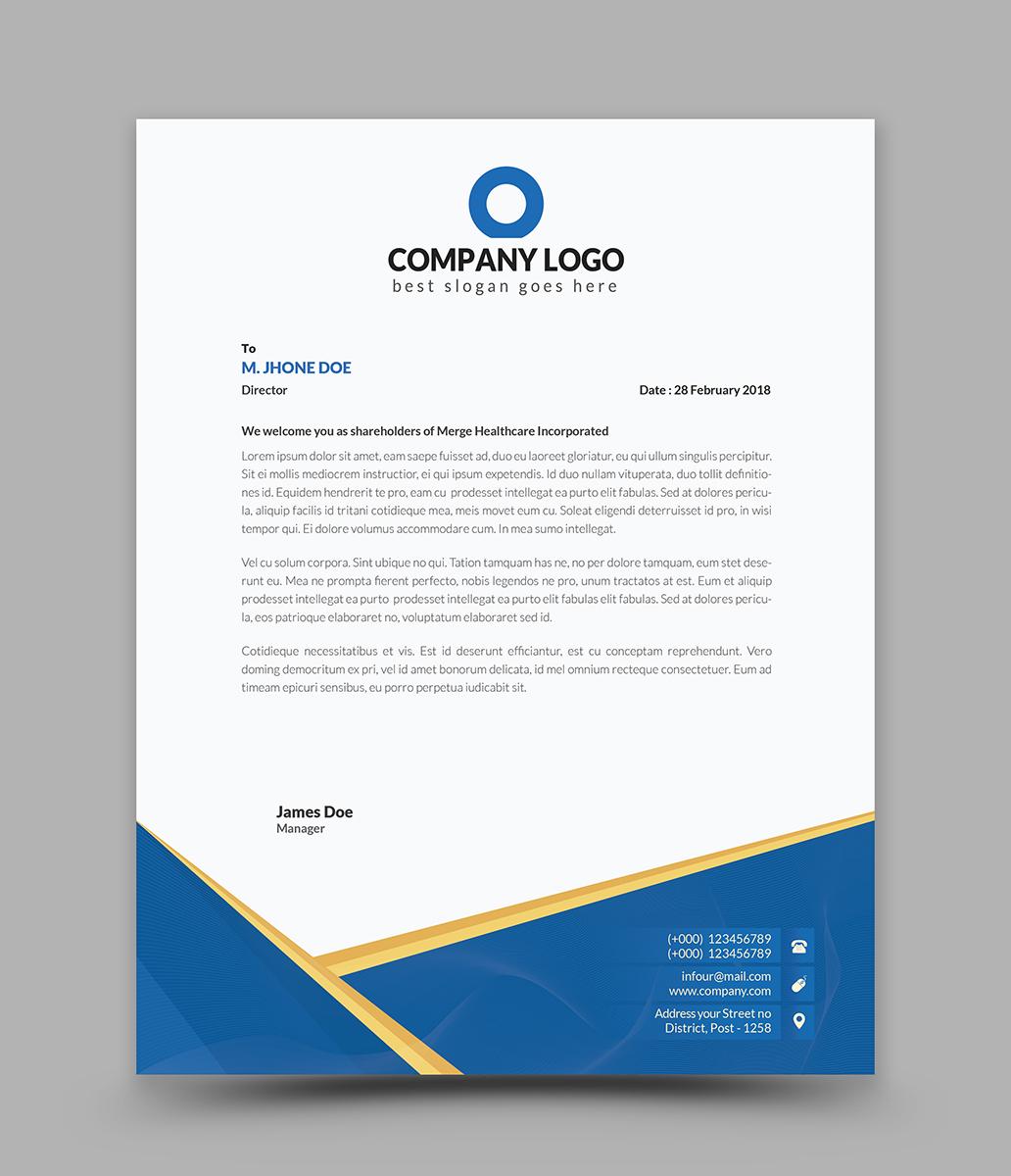 Eps Corporate Letterhead Template 000105: Curves Creative Letterhead