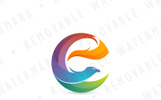 E Abstract Phoenix Logo Template