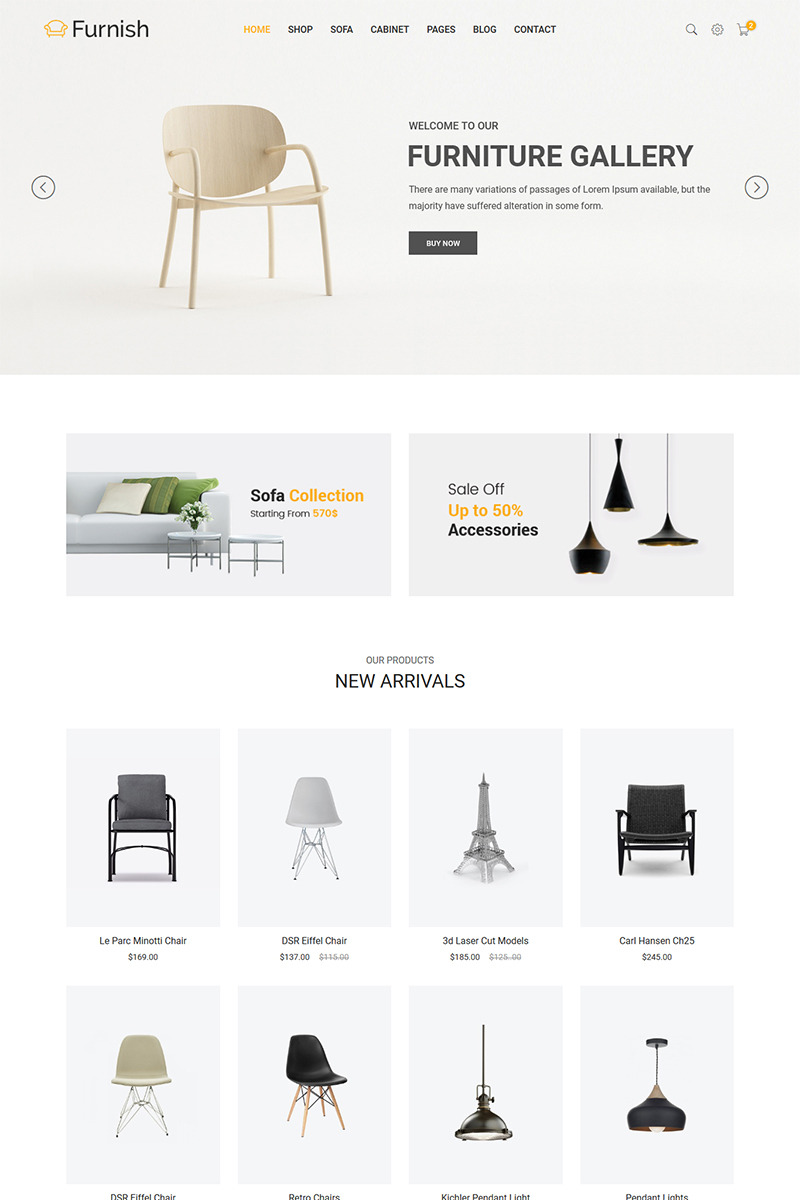 Furnish   Minimalist Furniture Website Template Big Screenshot