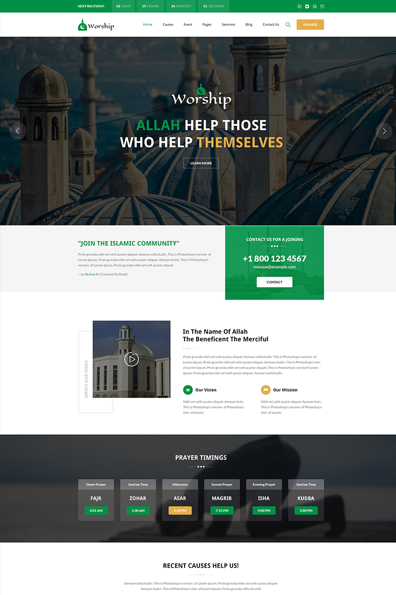 Worship Islamic Center Bootstrap Html Website Template 65916