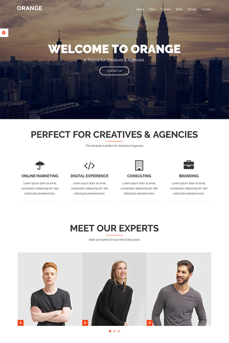 orange one page bootstrap theme website template 65911