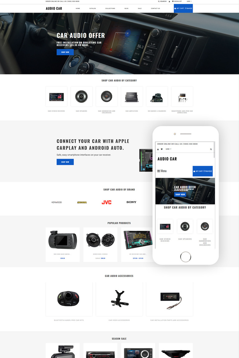 Audio Car - Car Audio Multipage Modern Shopify Theme #79157