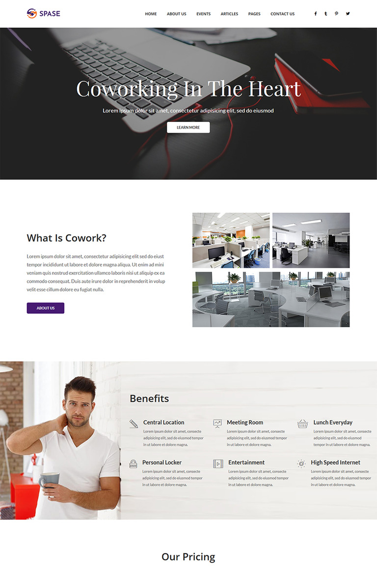 Spase Business And Coworking Html Website Template 67063
