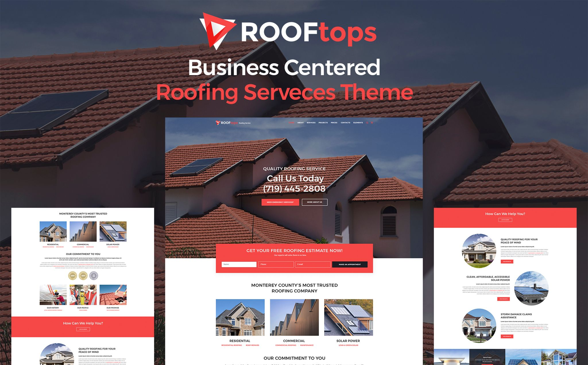 Rooftops Roofing Service Wordpress Theme 65855