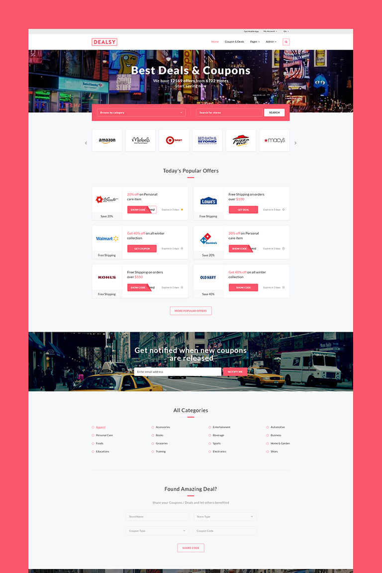 Dealsy - Deals & Coupons Theme + Admin Website Template #66480
