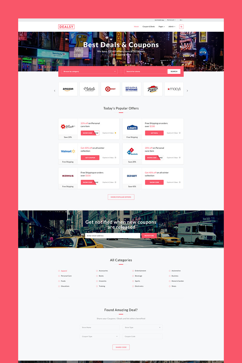 Dealsy   Deals U0026 Coupons Theme + Admin Website Template Big Screenshot  Coupons Design Templates