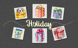 Gift boxes watercolor PNG set Illustration