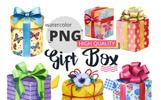 """Tema Illustrazione #65913 """"Gift boxes watercolor PNG set"""""""
