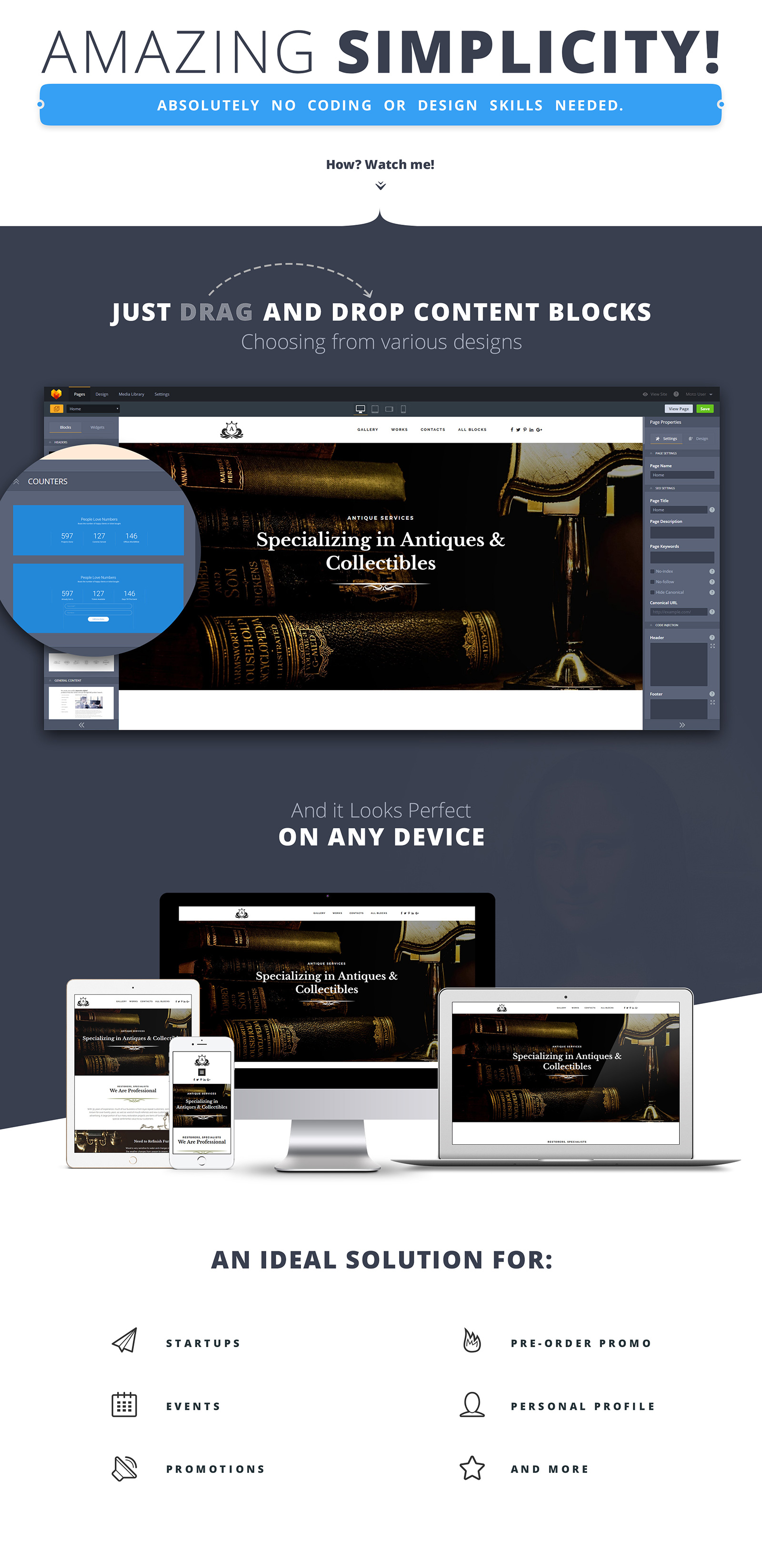 Antique - Collectibles Site Landing Page Template