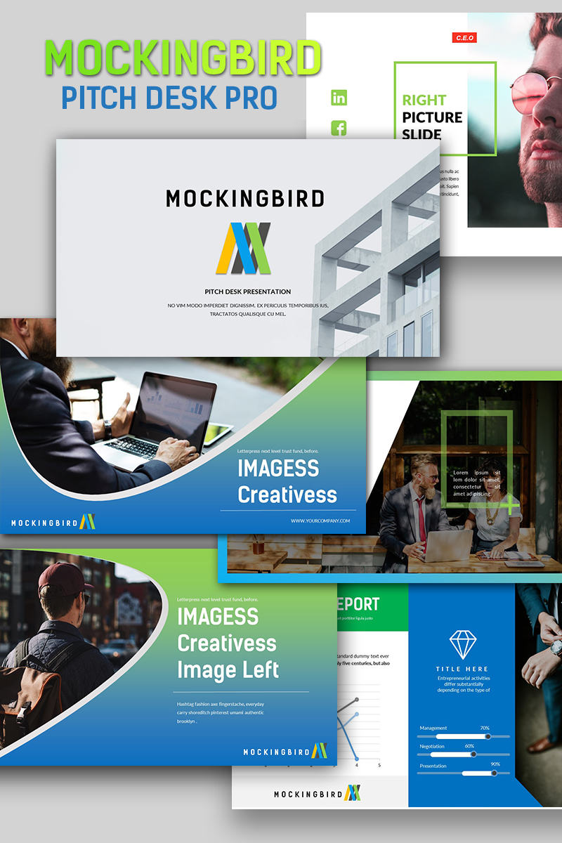 mockingbird pitch desk pro powerpoint template 65912