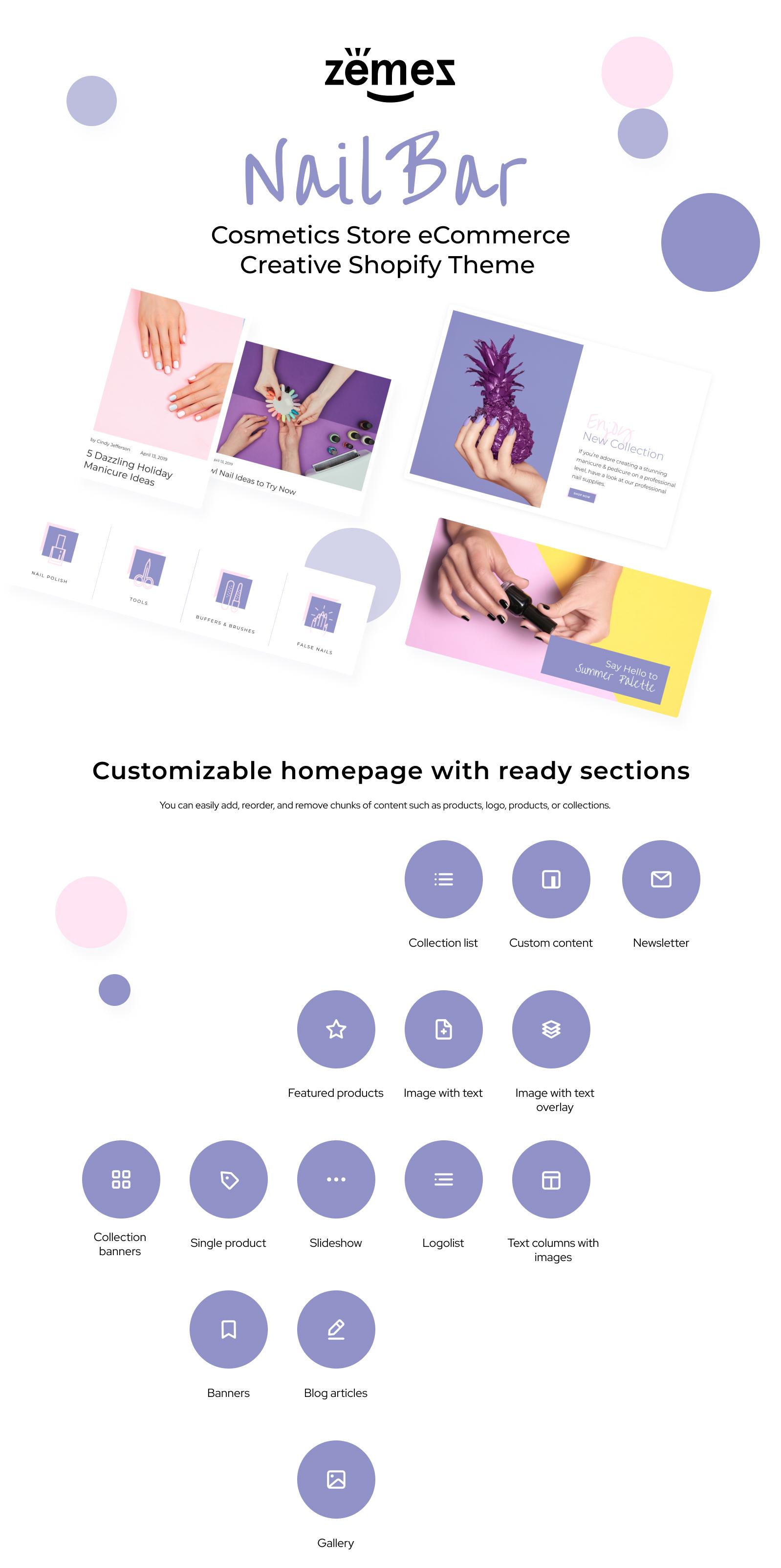 Nail Bar - Cosmetics Store eCommerce Creative Shopify Theme