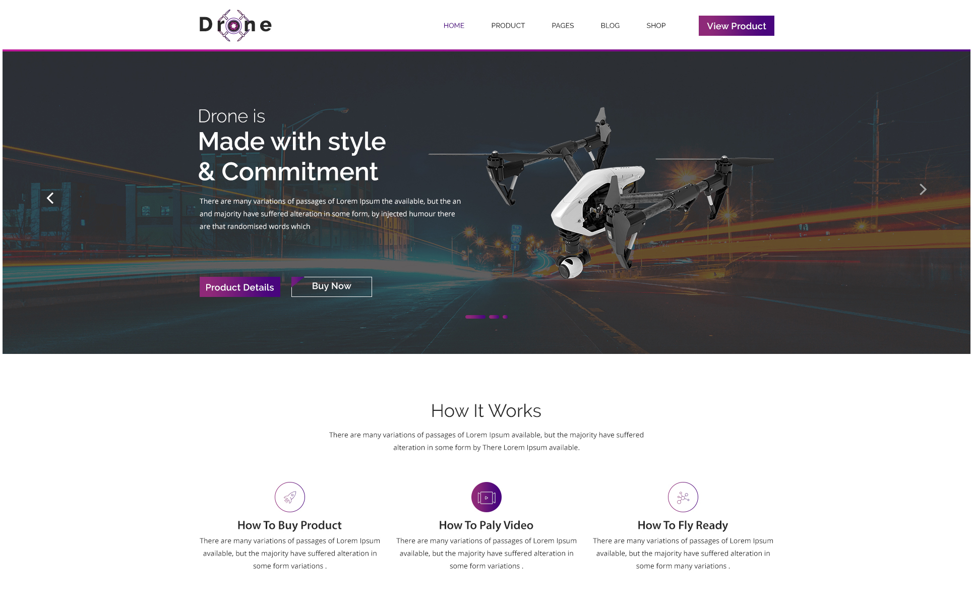 DRONE X Product Landing Page PSD Template #65906