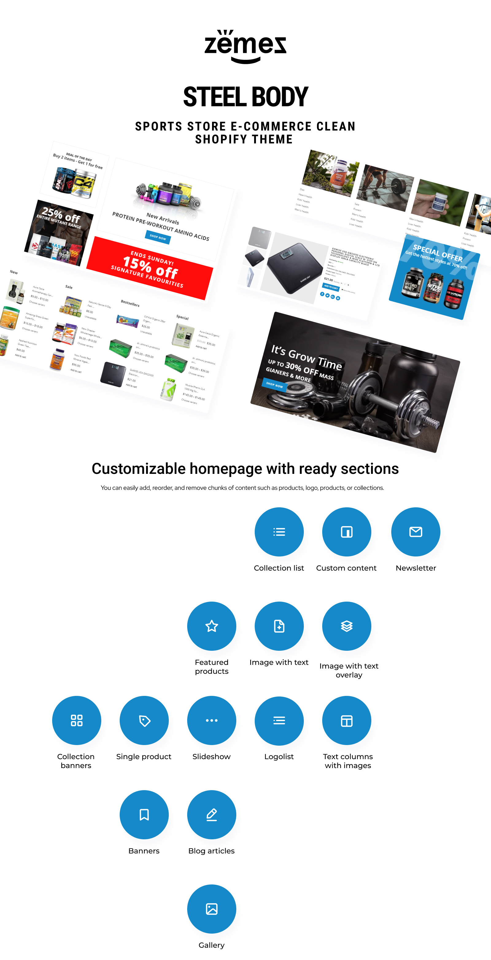 Steel Body - Sports Store E-commerce Clean Shopify Theme