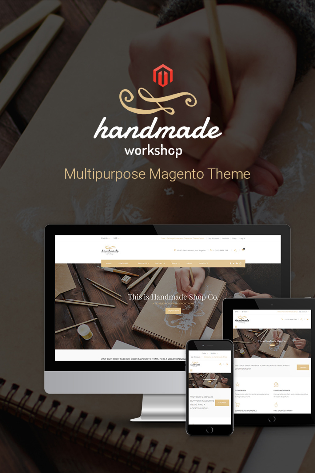 Handmade Responsive 2 & 1 Magento Theme Big Screenshot