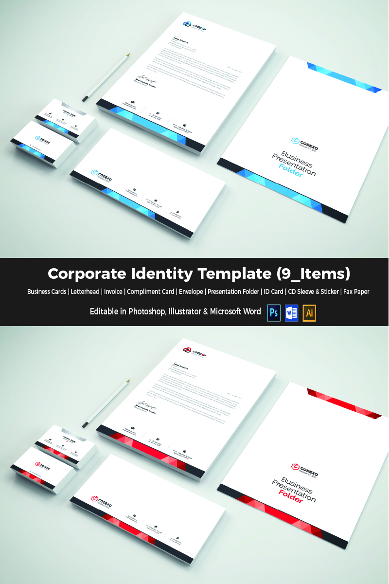 Elegant in 4 colors Corporate Identity Template #65974