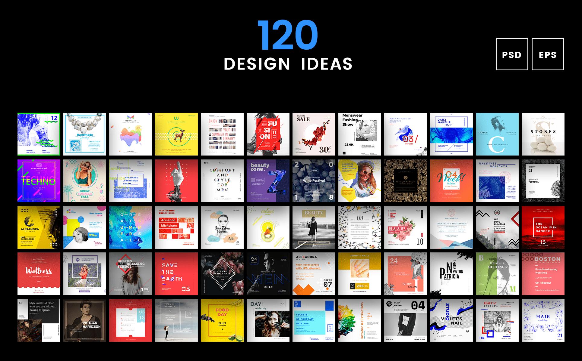 Social Media Cover Header Post Design Bundle - Template for social media posts