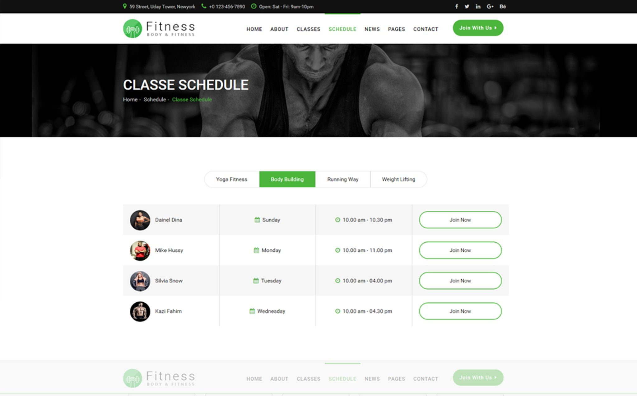 gym class schedule template