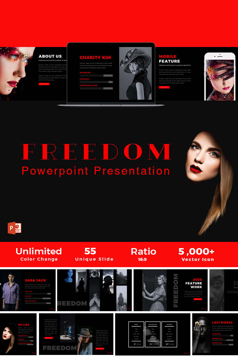 freedom presentation powerpoint template #66044, Modern powerpoint