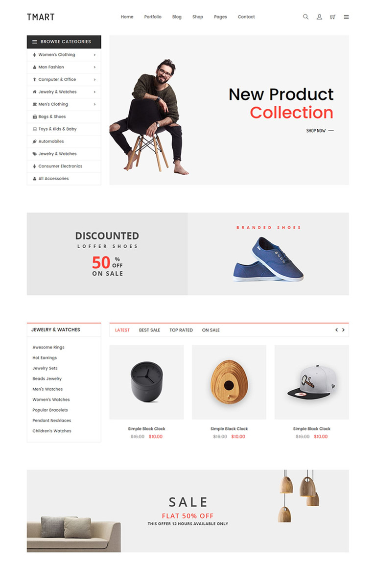 Tmart Minimal ECommerce Website Template - Buy ecommerce website templates