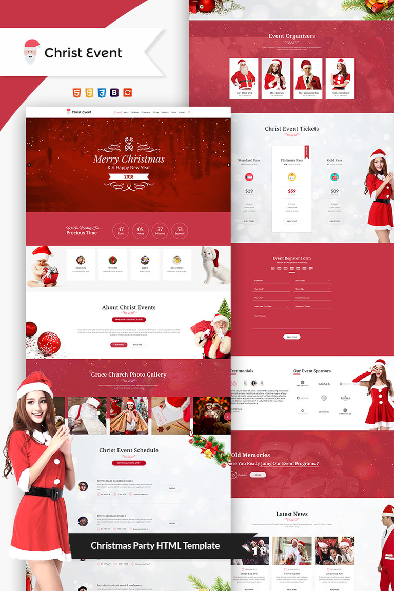 Christ Event - Christmas Party HTML Landing Page Template #66092