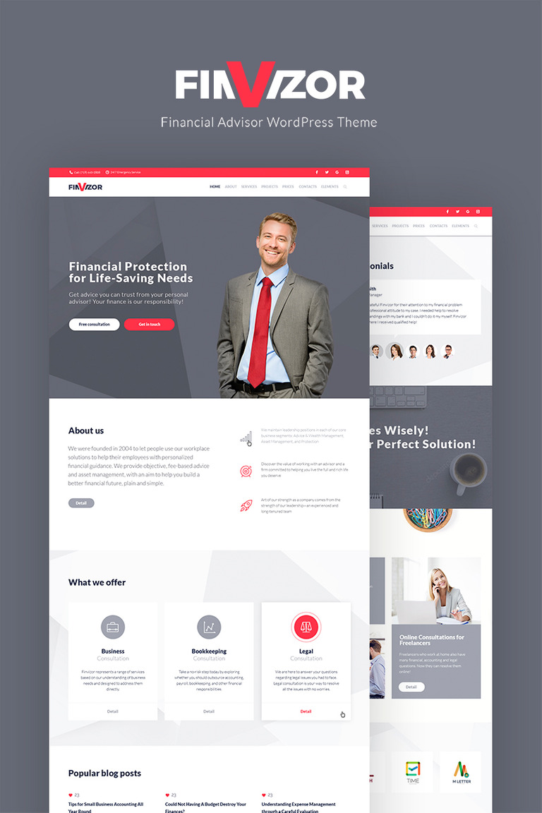 FinVisor Business Consultant WordPress Theme Big Screenshot