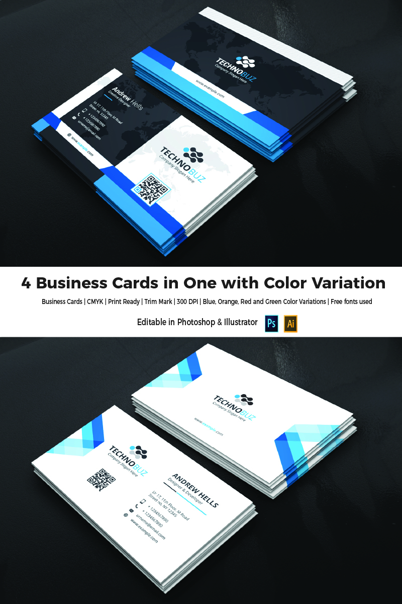 4 business cards in one corporate identity template 66104 reheart Gallery