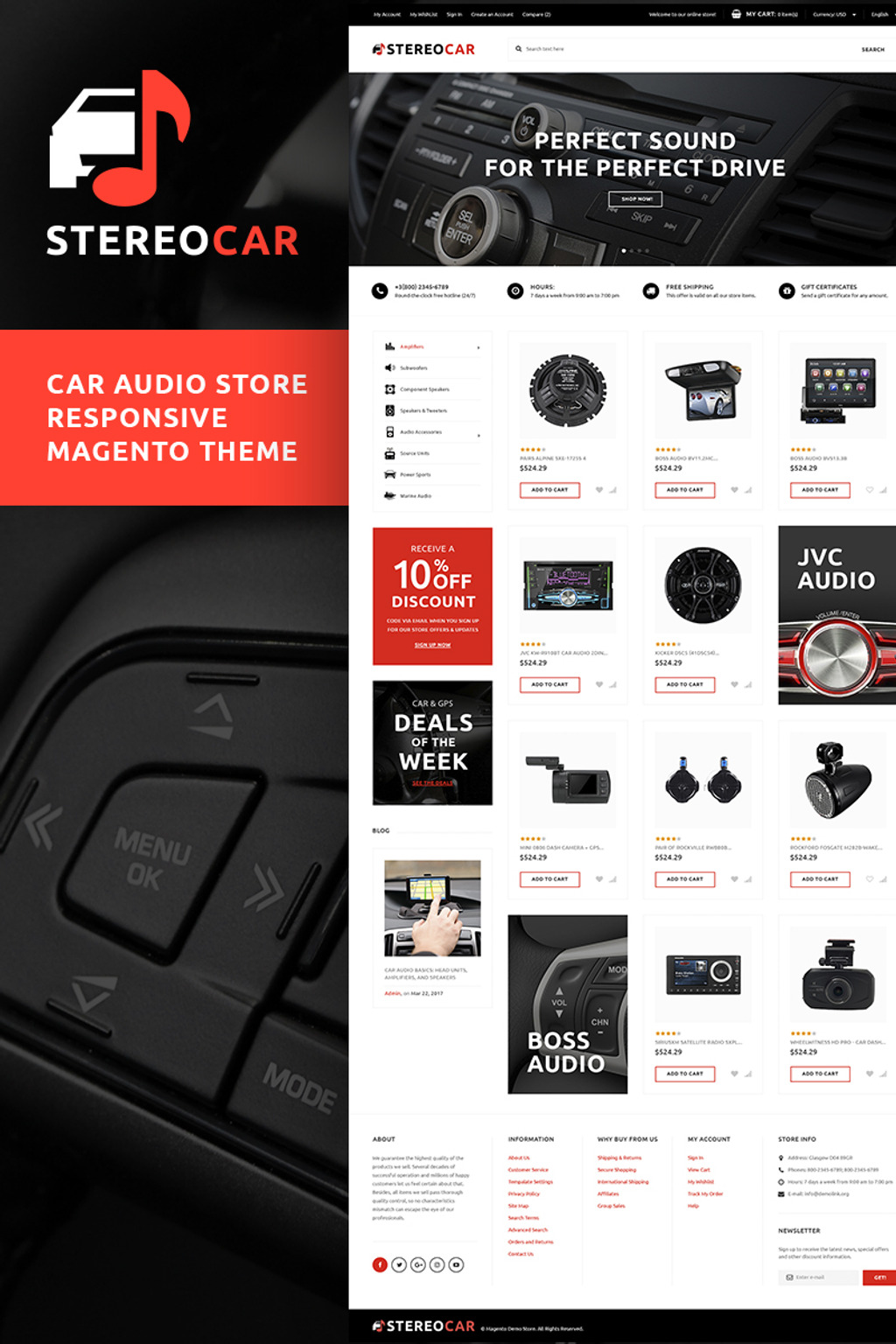 StereoCar - Car Audio Store Magento Theme Big Screenshot