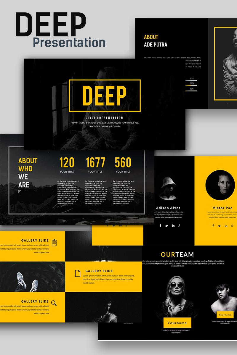 deep creative presentation powerpoint template 66135