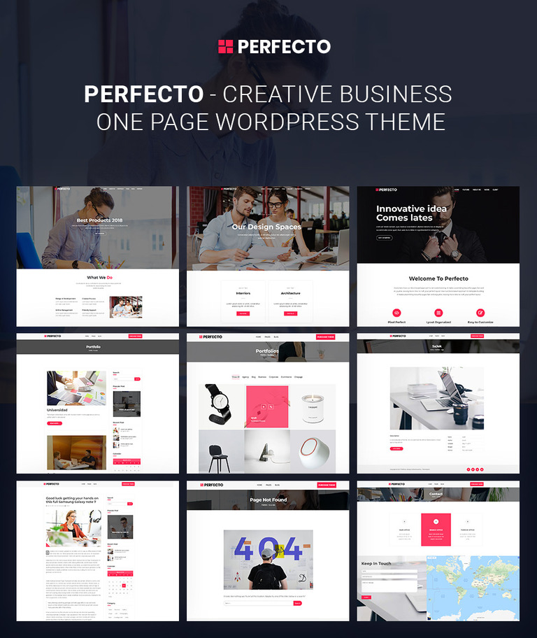 Perfecto - Business One Page WordPress Theme #68090